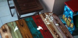 meja makan decoupage pallet